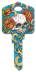 AI1 - Skull & Roses Achilles Ink, Skull and Roses, painted, licensed house key blanks,key,keys,licensed,house key,house keys,art,official