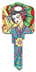 AI2 - Geisha Achilles Ink, Geisha, painted, licensed, house key blanks,key,keys,art,custom, geisha,licensed,license,kw,wr,sc1