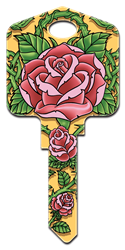 AI5 - Roses Achilles Ink, Roses, painted, house key blanks, licensed,art,licensed,custom keys,key,keys,house key,house keys,