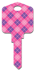 PG6 - Plaid Pampered Girls,house keys,housekey,key,keys,sc1,kw,wr,licensed,Plaid, house key blank, licensed