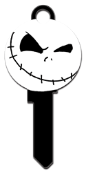 D118 - Jack Skellington Shape Disney, nightmare, before, christmas, jack, skellington, sally, tim, burton, halloween, pumpkin, king, licensed, house, key, KW, kw1, kw10, kwikset, sc1, schlage, wr, wr3, wr5, weiser