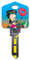 B1 - Biker Betty Betty Boop,boop,betty,biker,betty,key,housekey,house key,key,keys,art,licensed,license,official, Biker Betty, house key blank, painted, licensed,
