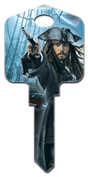 D27 - Captn Jack Sparrow Disney,pirates,of,the,caribbean,jack sparrow,jack,disney,key,house key,art,howard,howardkeys,sc1,kw,wr, Pirates of the Caribbean, Captn Jack Sparrow licensed painted house key blank