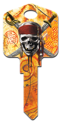 D28 - Skull & Swords Disney,pirates,pirates,of,the,caribbean,skull,sword,swords,art,key,house key,keys,howard,howard keys,sc1,wr,kw,Pirates of the Caribbean, Skull & Swords licensed painted house key blank