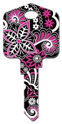 PG8 - Psychedelic Floral Pampered Girls, Psychedelic Floral, house key blank, licensed, painted,kw,wr,sc1,key,keys,house key,housekey,house keys