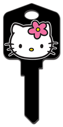 SR2 - Hello Kitty Black Hello Kitty,hello,kitty,black,large,headed,key,keys,house key,house keys, house key, licensed, painted, key blanks, black