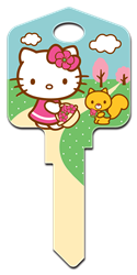 SR8 - Springtime Hello Kitty, house key, licensed, painted, key blanks, Springtime,house keys,art, licensed,key,keys,licensed,official