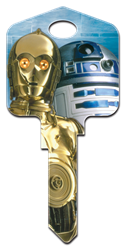 SW6 - C-3PO & R2-D2 Star Wars,c3p0,c3po,r2d2,r2,d2,droid,key,keys,house keys,house key,license,licensed,art,jedi,star,wars, C-3PO and R2-D2, house key blank, licensed, painted